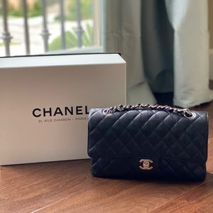 NEW Chanel CF Medium Black Caviar Silver Hardware